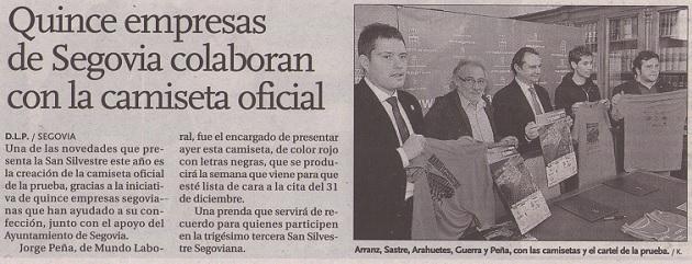 Quince empresas de Segovia colaboran con la camiseta oficial de la San Silvestre