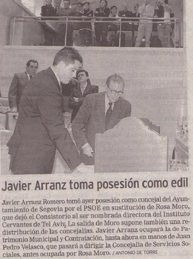 Javier Arranz toma posesión como edil