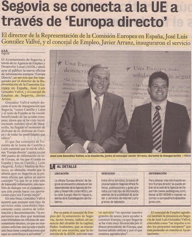 Segovia se conecta a la ue a trav s de europa directo for Oficina de empleo de segovia
