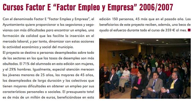 "Cursos Factor E ""Factor Empleo y Empresa"" 2006/2007"