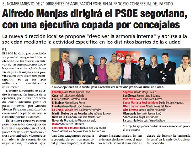 Alfredo Monjas dirigirá el PSOE segoviano, con una ejecutiva copada por concejales