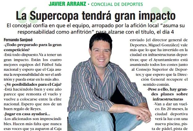 """Javier Arranz, concejal de Deportes: """"La Supercopa tendrá gran impacto"""""""