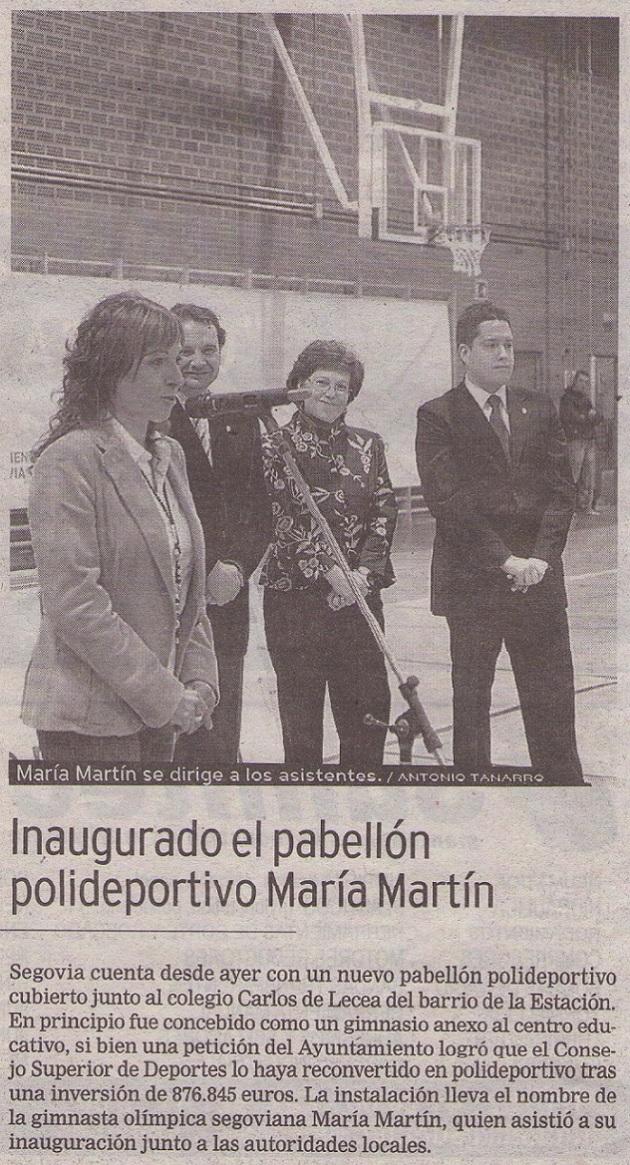 Inaugurado el pabellón polideportivo María Martín