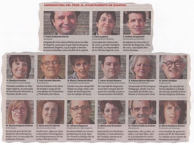 Candidatura del PSOE al Ayuntamiento de Segovia