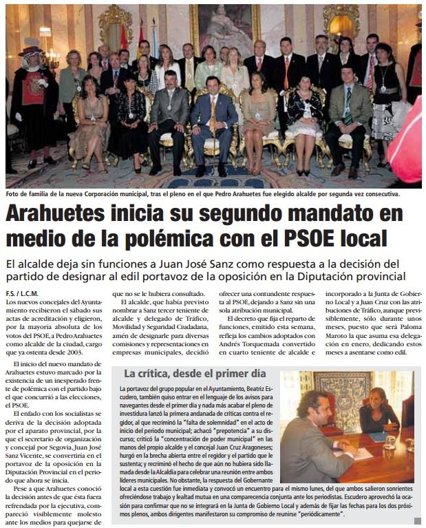 Arahuetes inicia su segundo mandato en el Ayuntamiento segoviano