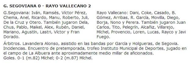 Gimnástica Segoviana, 0 - Rayo Vallecano, 2