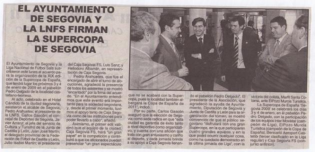 El Ayuntamiento de Segovia y la LNFS firman la Supercopa de España 2009